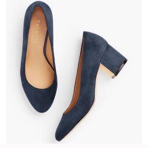 Talbots navy suede block heel